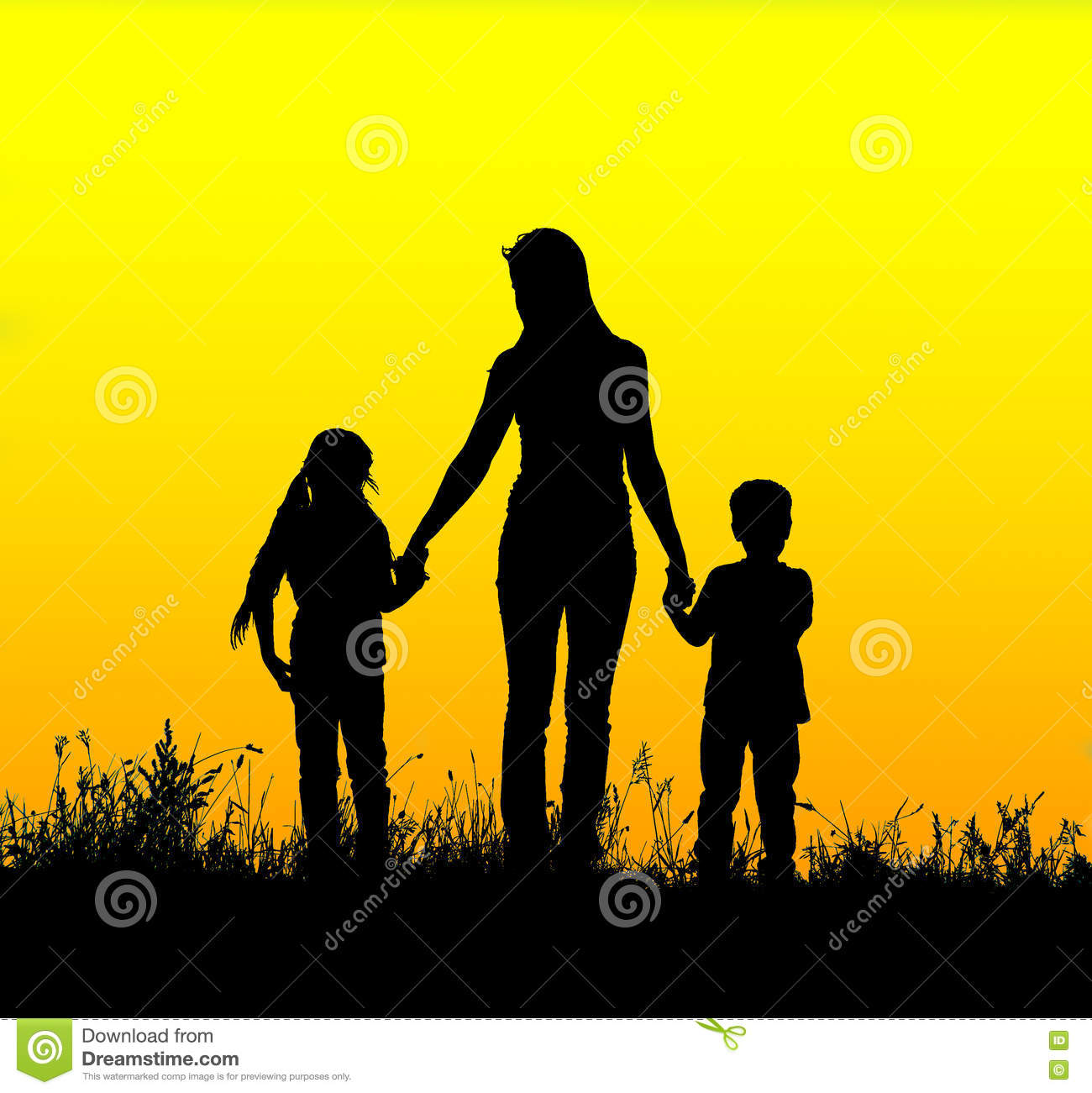 Love The Mother Child Silhouette: Mother And Son On Sunset Holding By Hands Royalty-Free