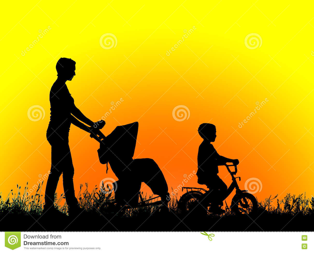 Silhouette Mother With Children Walking At Sunset Stock ...