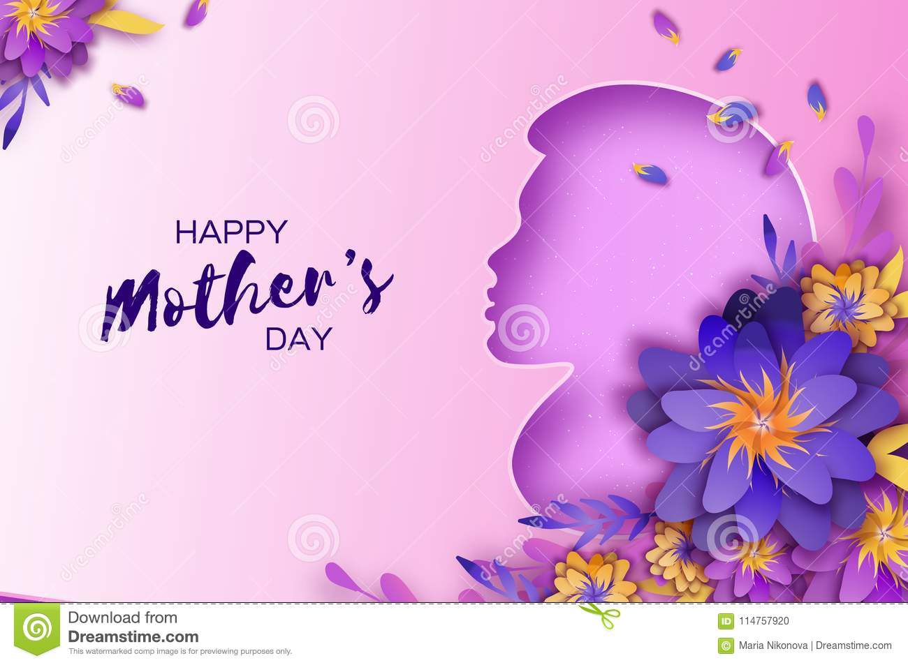 Silhouette Of A Mother In Paper Cut Style Happy Mothers Day