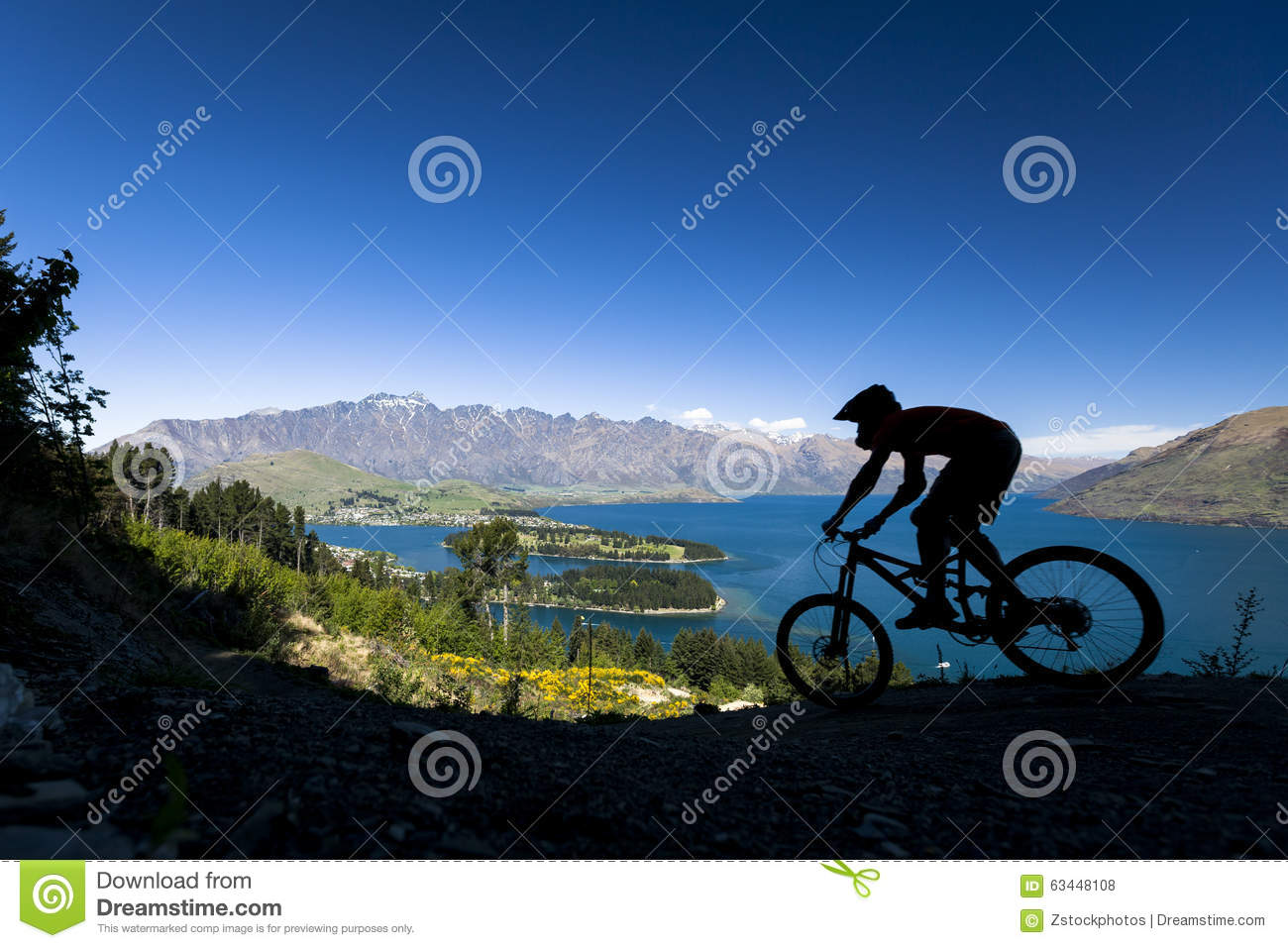 Download Silhouette Of Mountain Bike Rider In Queenstown Stock Photo - Image of ride, lake: 63448108