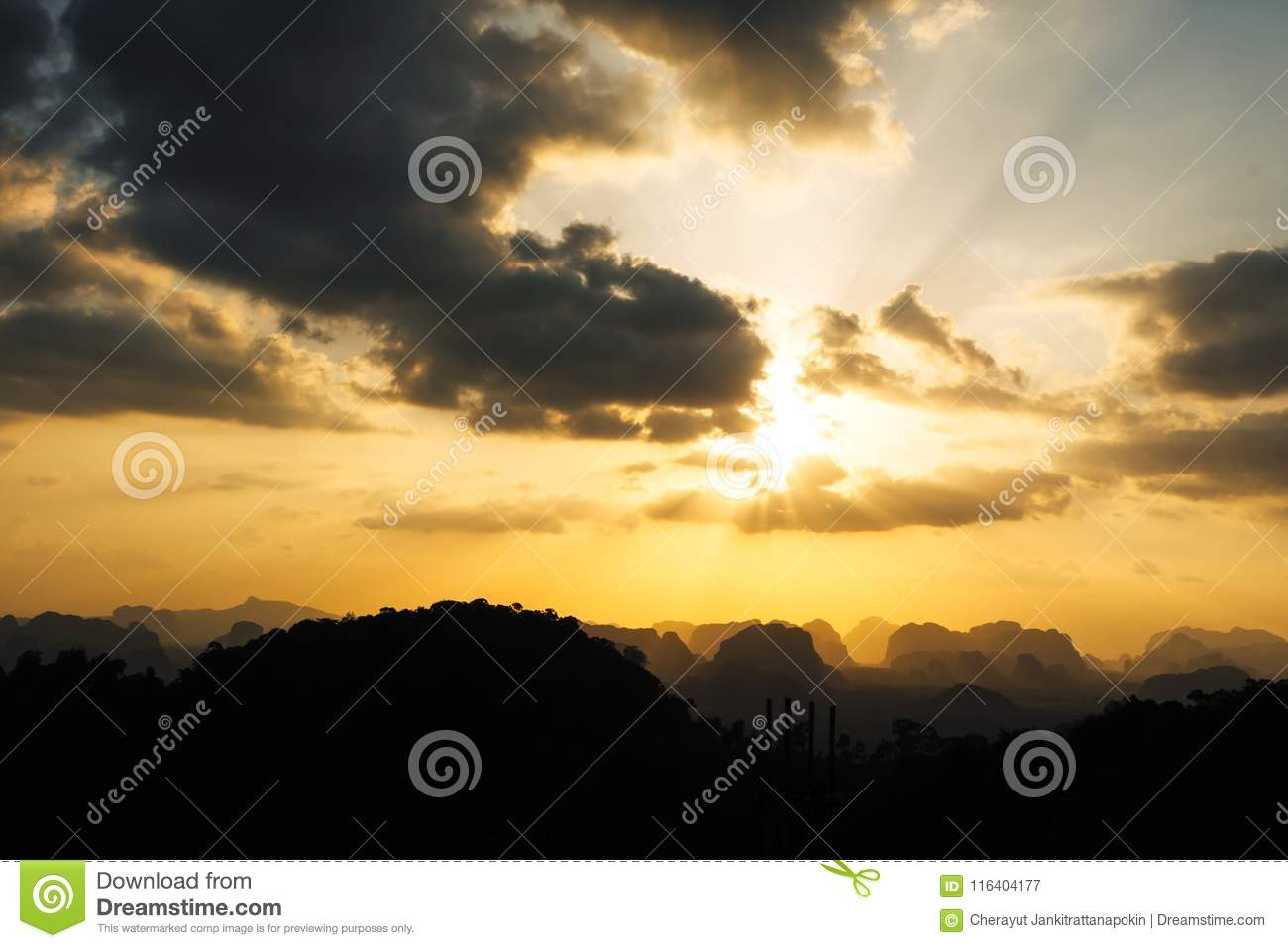 Silhouette Of Mountain And Orange Summer Sunset Background
