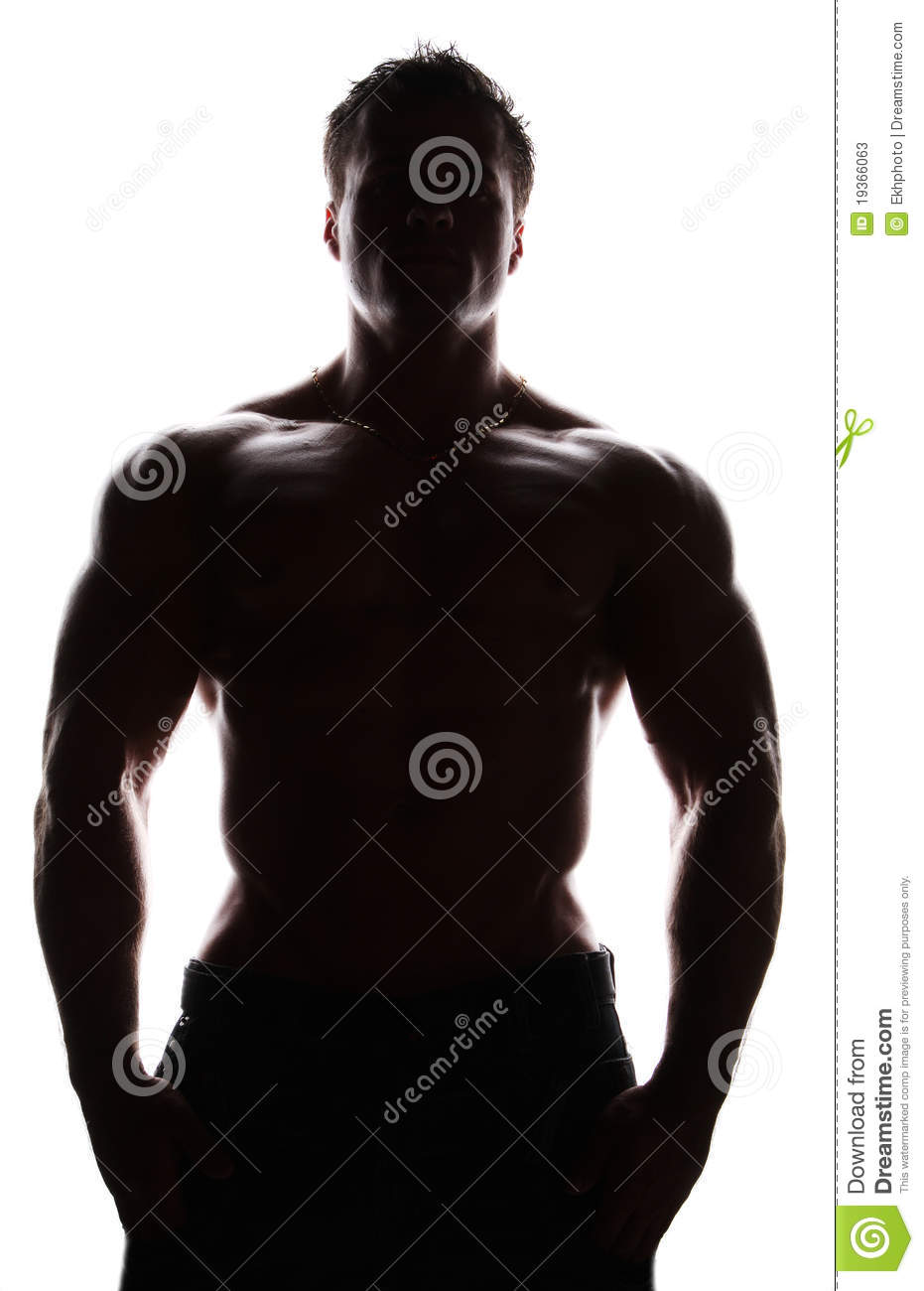 Silhouette Of Muscle Naked Young Bodybuilder Stock Photos - Image 19366063-4047