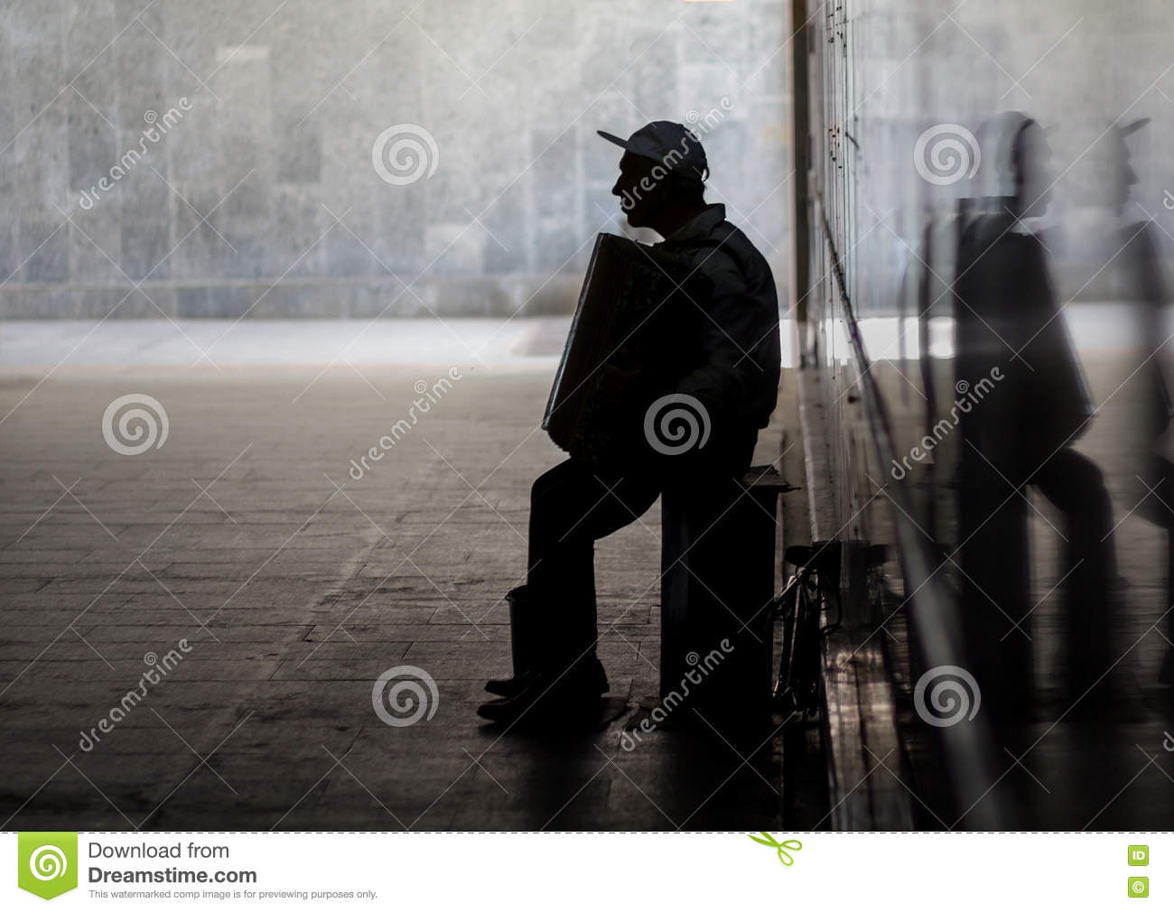 Silhouette Of Musician With Accordion Stock Image - Image ...