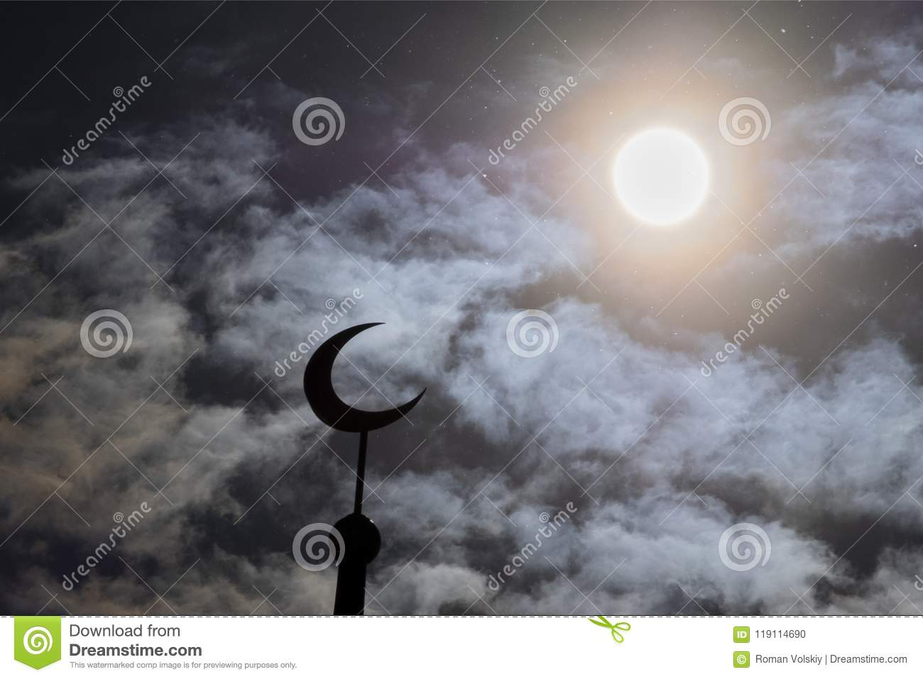 Silhouette Of The Muslim Crescent For Stylish Design Of Postcards