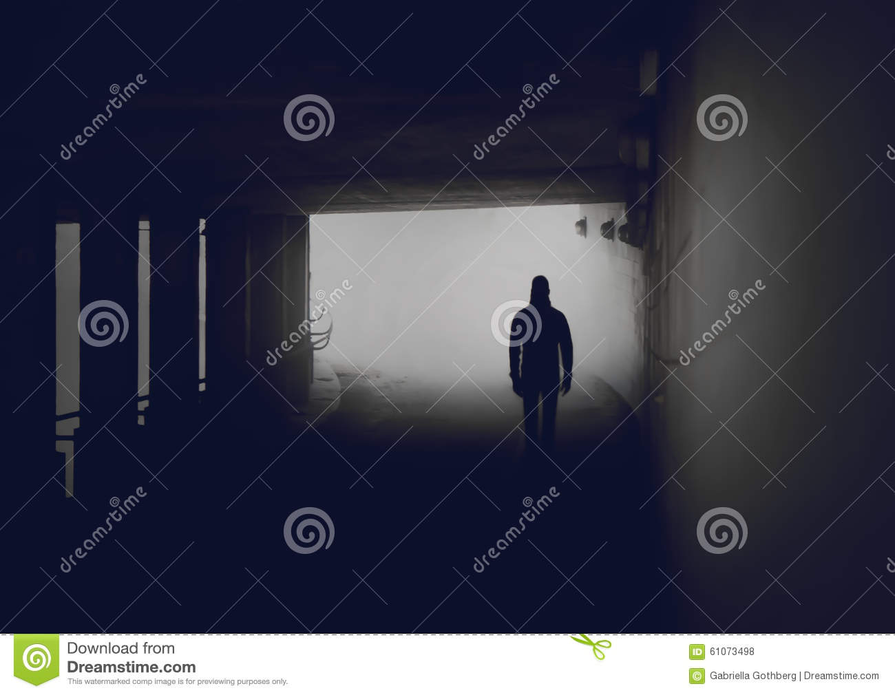 Silhouette of mysterious man in misty tunnel.
