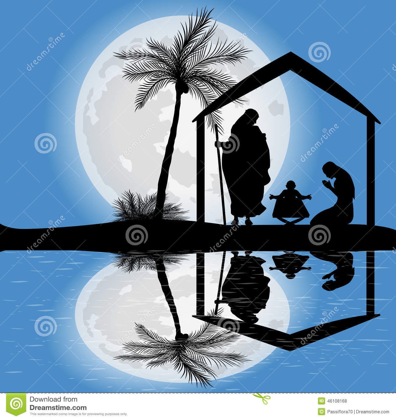 Silhouette Of The Nativity Scene Stock Illustration - Image: 46108168