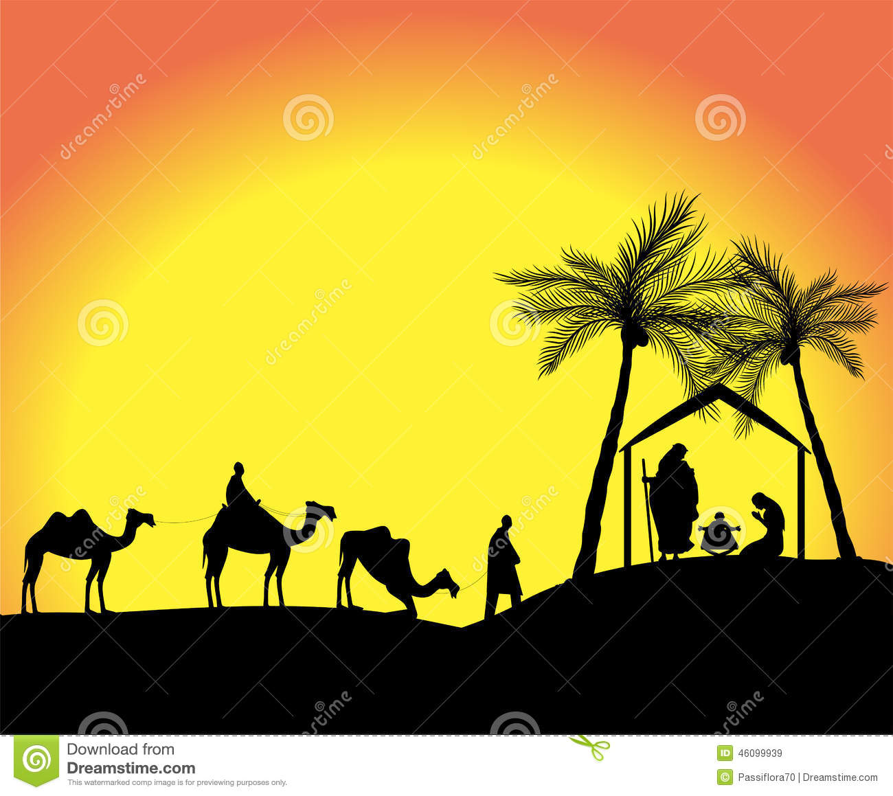 Silhouette of the nativity scene with the three wise men in the desert ...