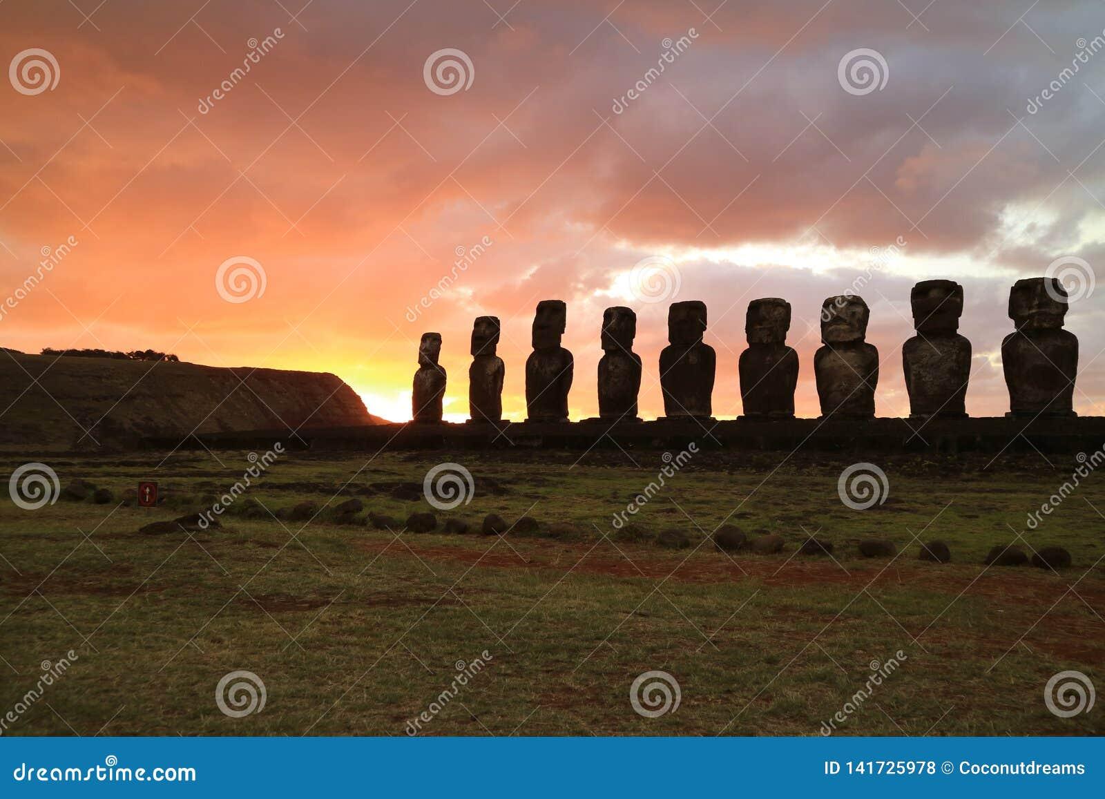 Moai Statues In Ahu Tongariki, Easter Island, Chile Stock