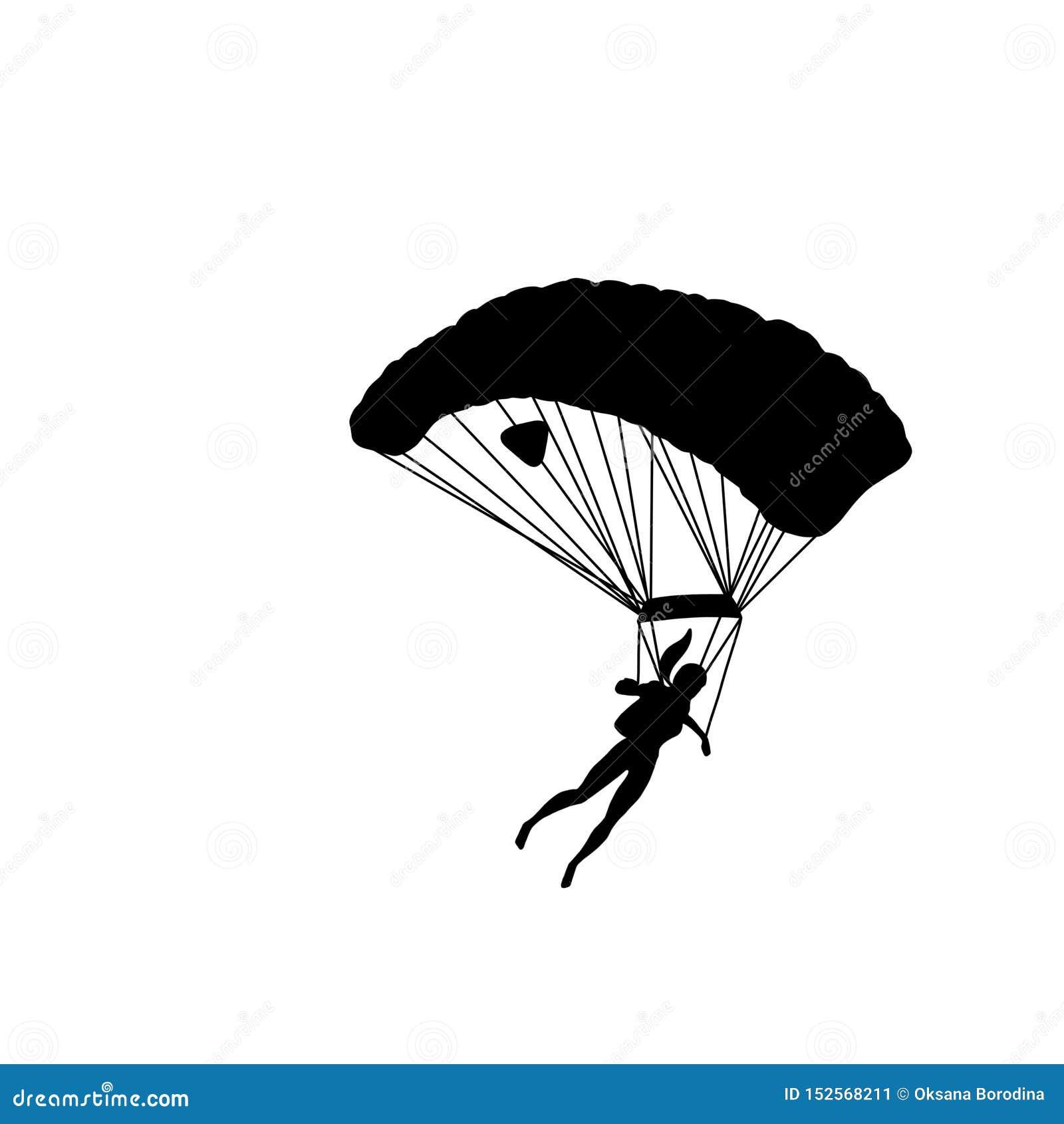 Silhouette noire d une fille avec le parachute