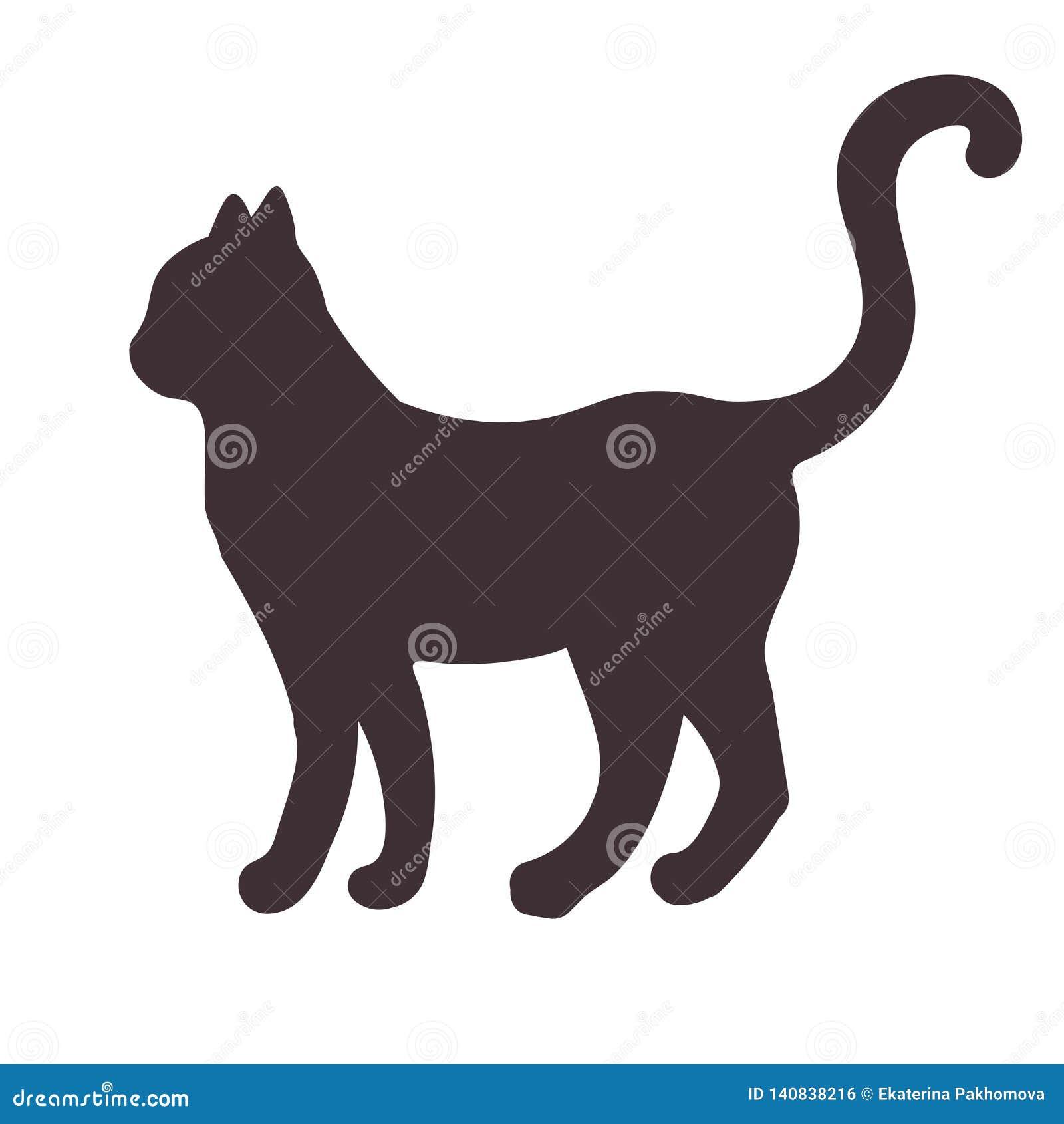Silhouette noire d une position, chat de marche d isolement sur le fond blanc
