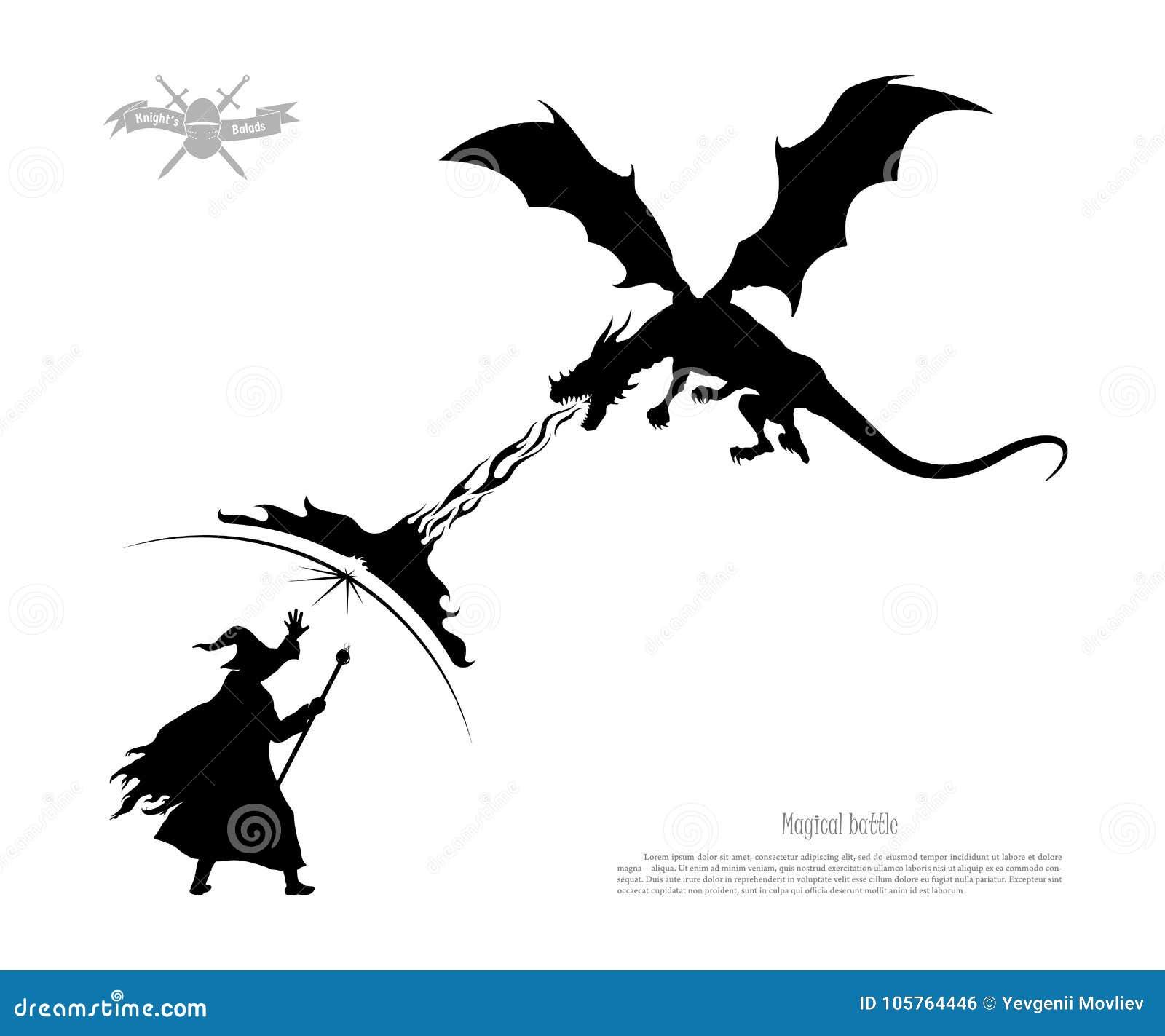Silhouette noire de bataille de magicien avec le dragon sur le fond blanc Le monstre respire le feu sur le magicien