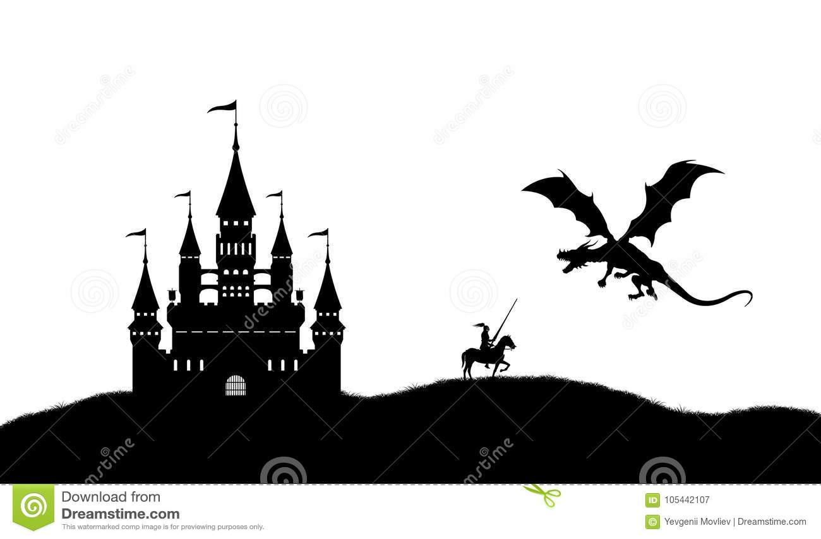 Silhouette Noire De Dragon Et De Chevalier Sur Le Fond Blanc