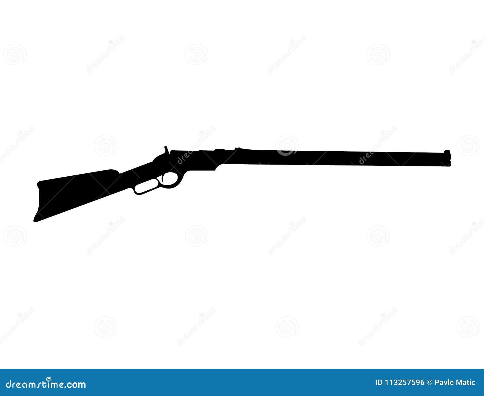 Silhouette Noire De Fusil De Winchester Illustration de ...