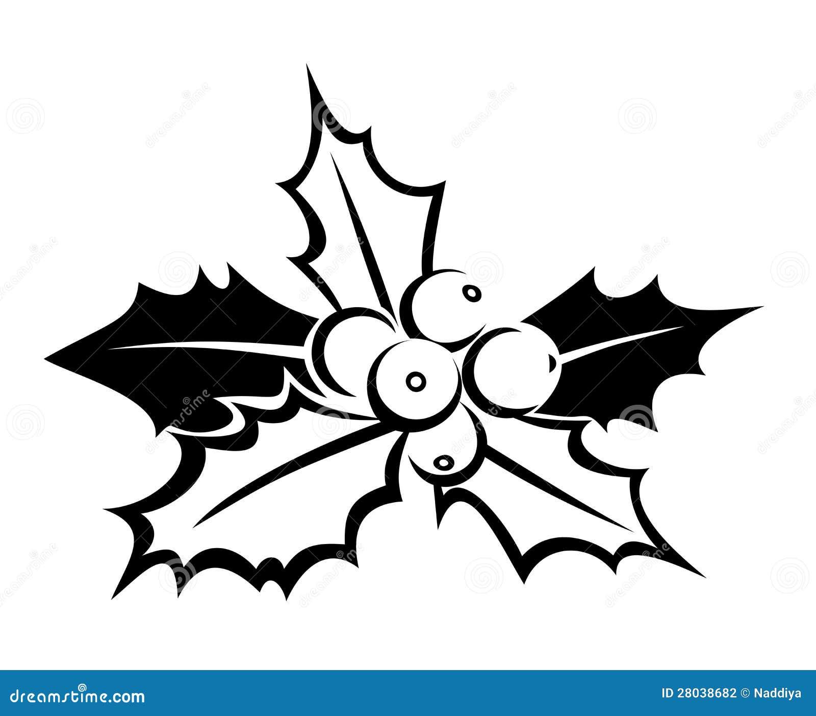 Silhouette noire de houx. Illustration de vecteur.