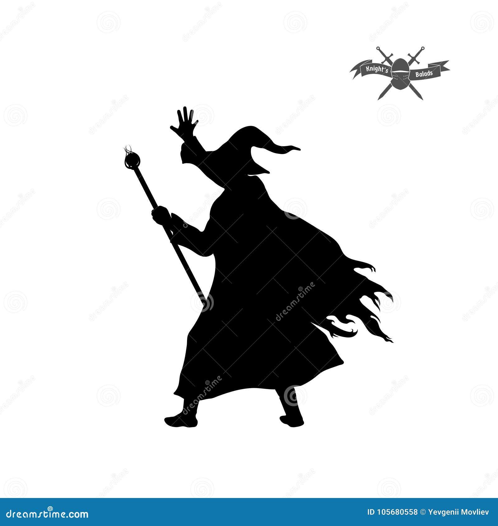 Silhouette noire de magicien avec le chapeau et le personnel sur le fond blanc Image d isolement de magicien d imagination