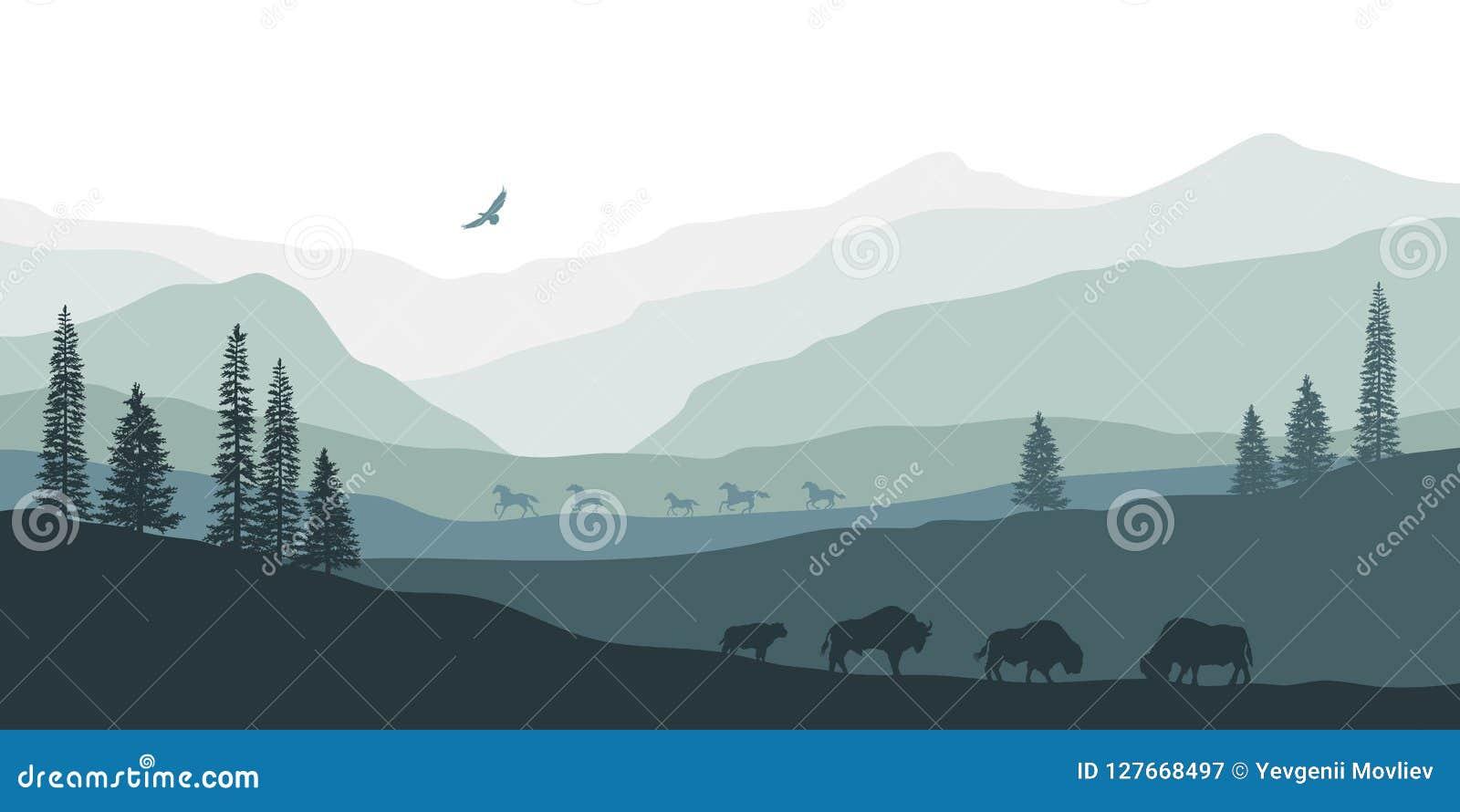 Silhouette noire de paysage de montagne Bison américain Panorama naturel des animaux de forêt Paysage occidental d isolement