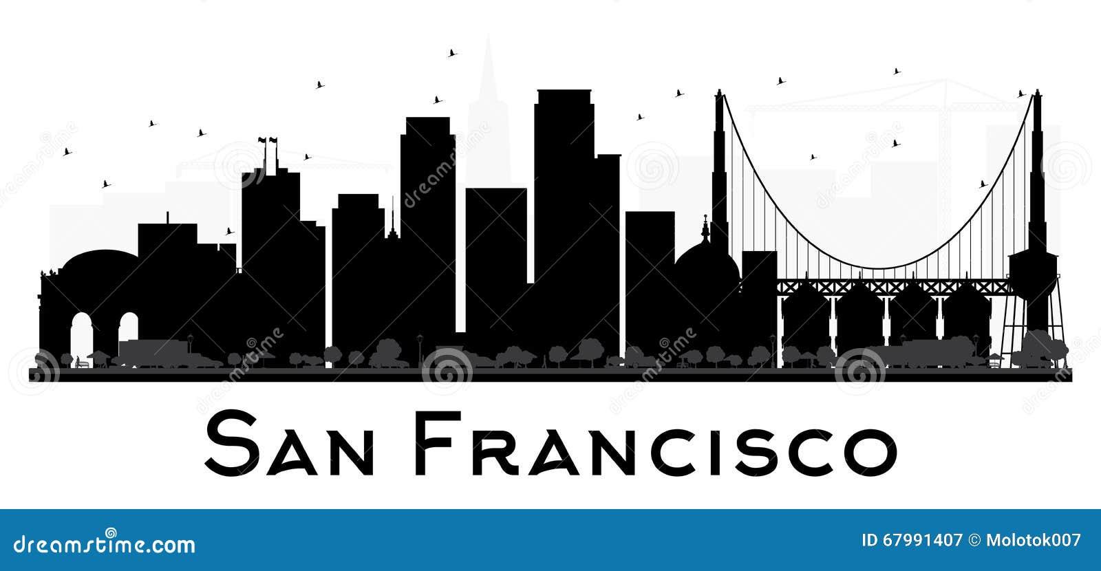 Silhouette noire et blanche d horizon de San Francisco City