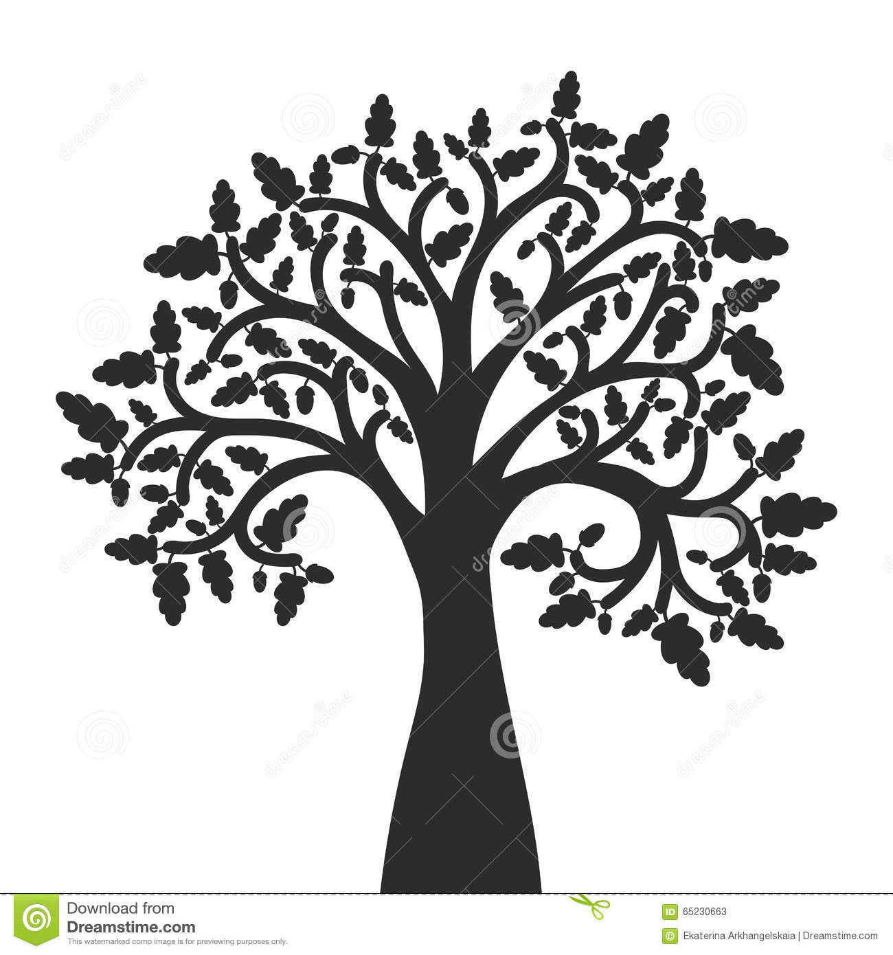 Silhouette Of Oak Tree With Leaves Stock Vector Image