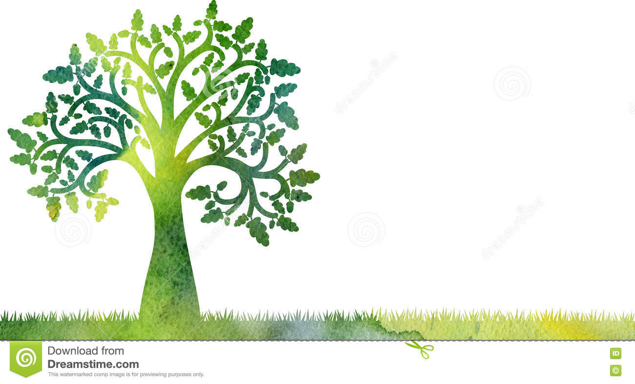 Silhouette Of Oak Tree With Leaves And Grass Stock