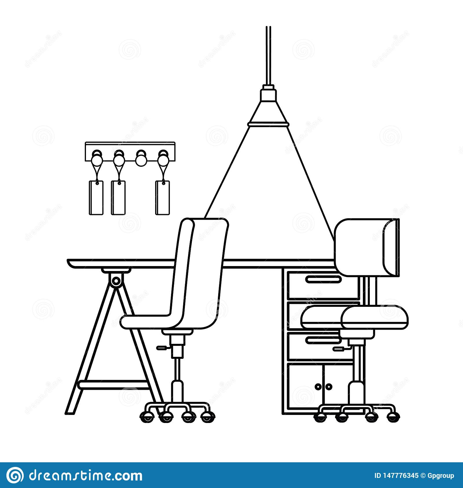 Silhouette Of Office Desk With Chairs Icon Stock Vector ...