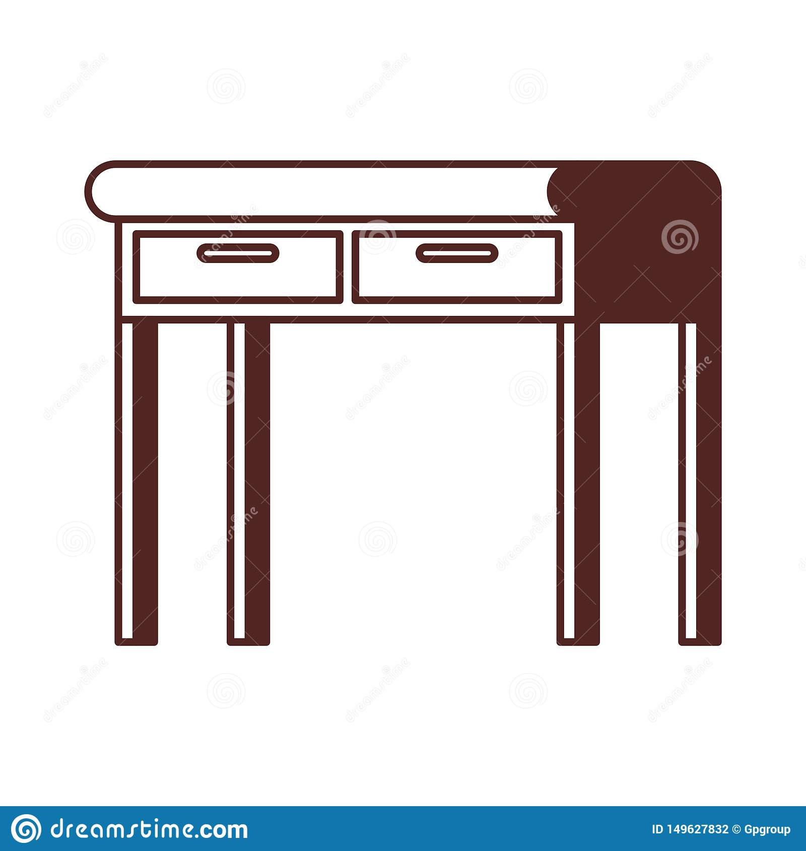 Silhouette Of Office Desk In Wooden With White Background ...