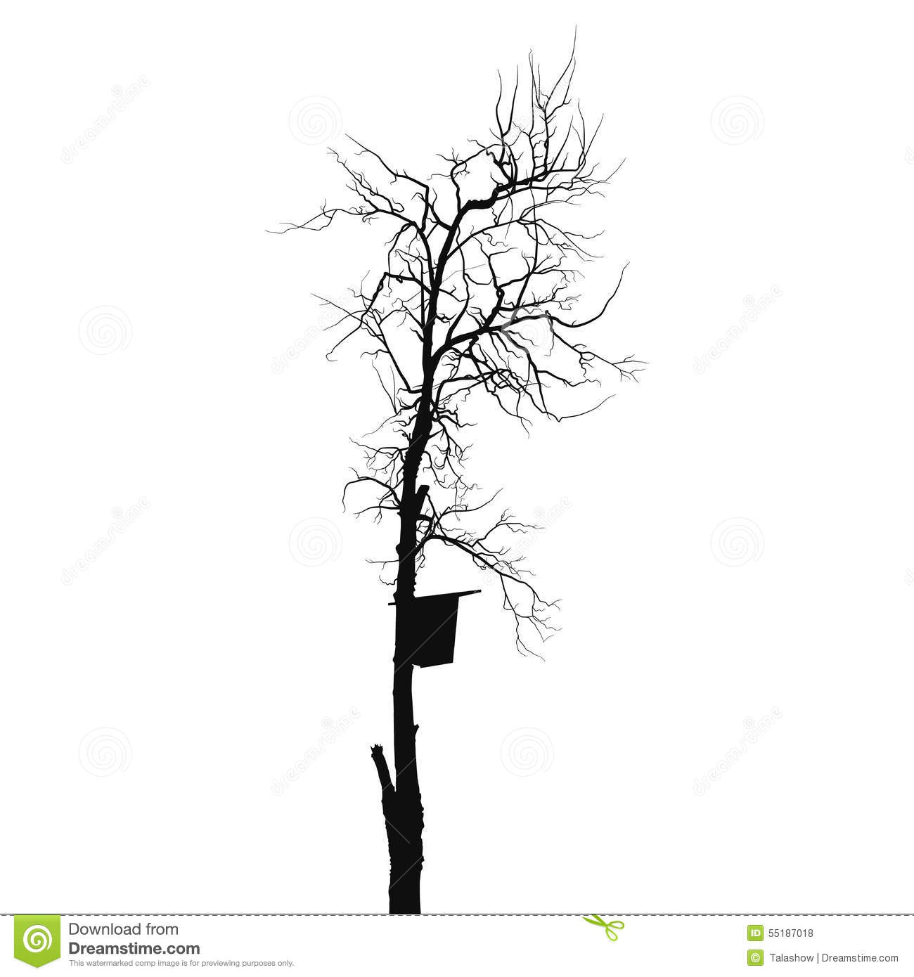 House And Tree Silhouette Vector Illustration