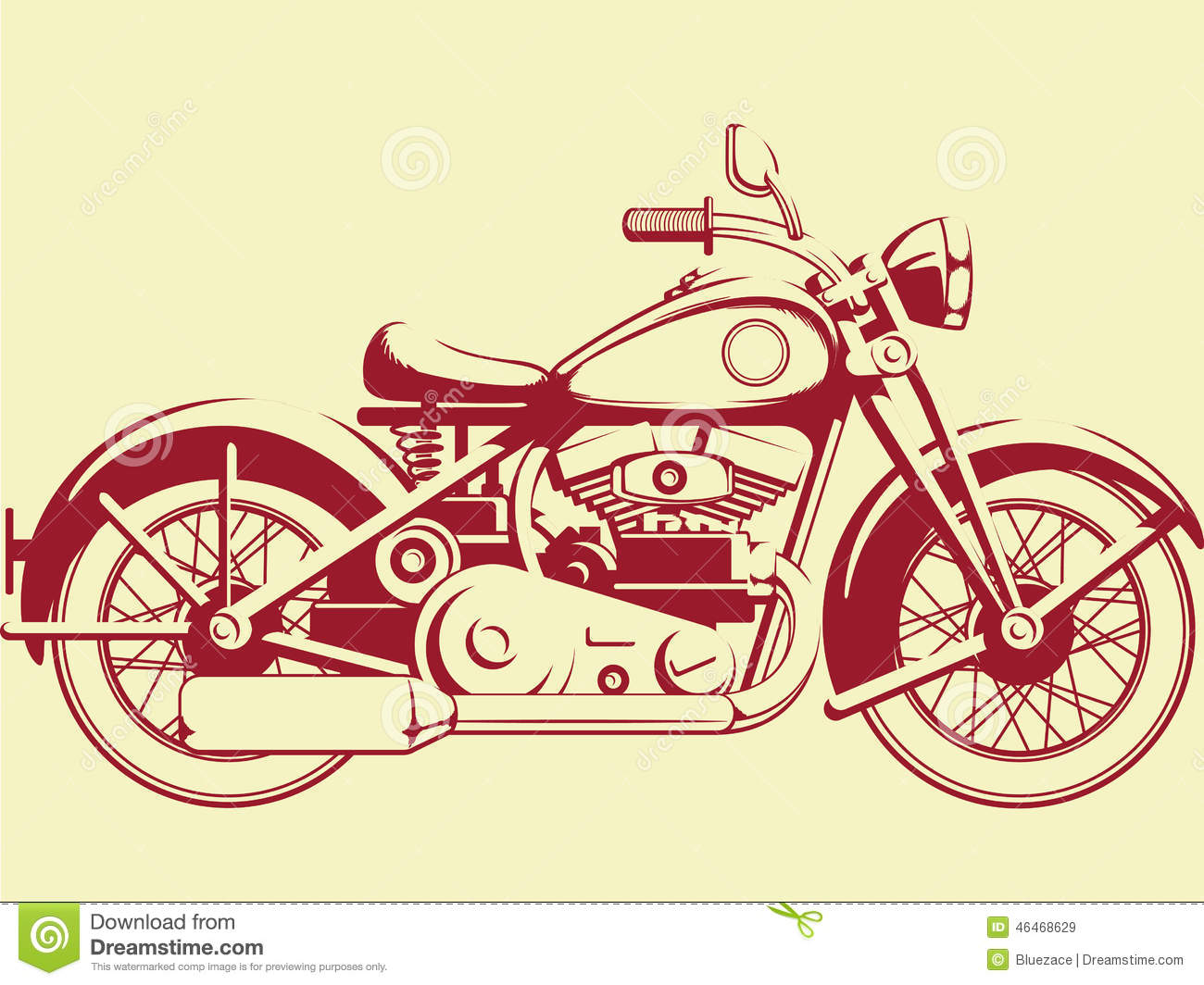 Silhouette Of Old Motorcycle Profile View Stock Vector