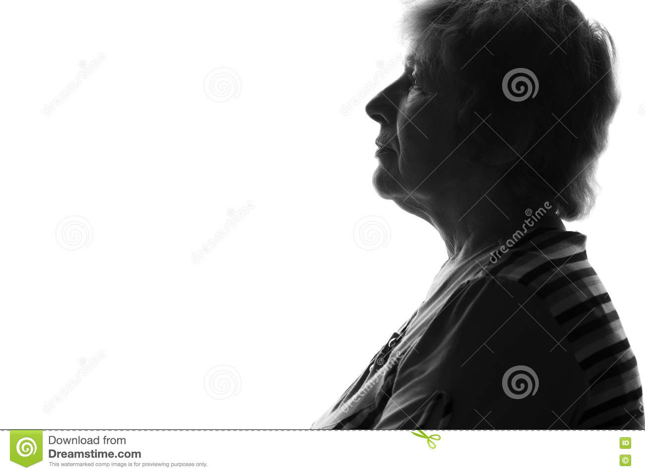Silhouette of an old sad woman