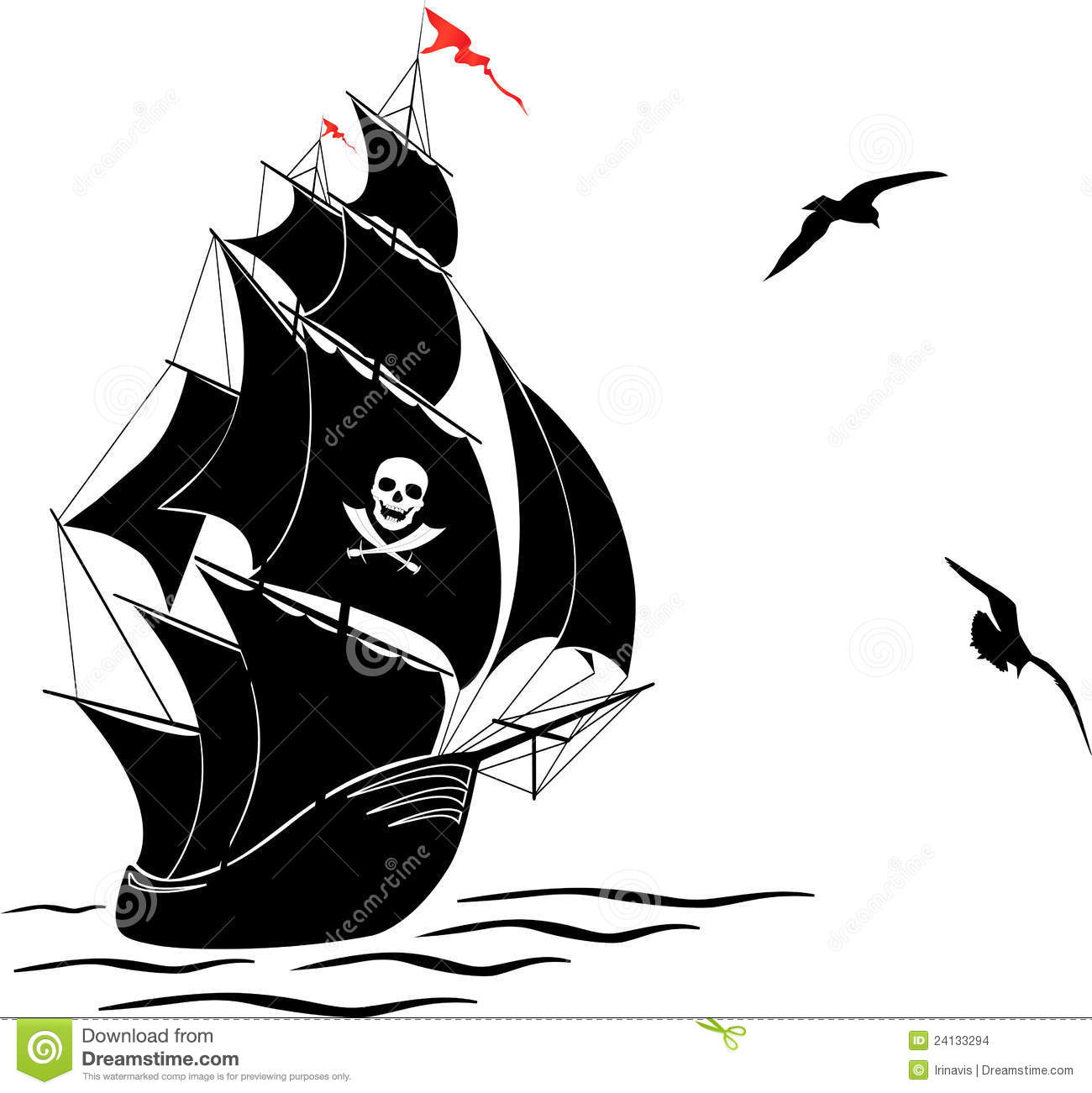 Silhouette Of A Old Sail Pirate Ship And Two Gulls Stock Images ...