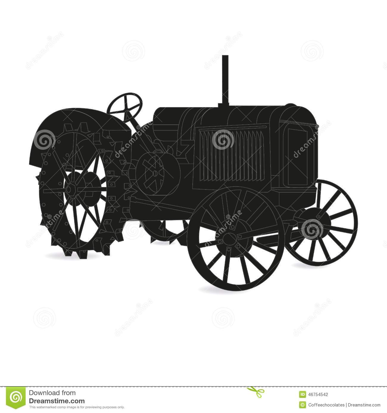 Antique Tractor Silhouette : The silhouette of old tractor vector stock