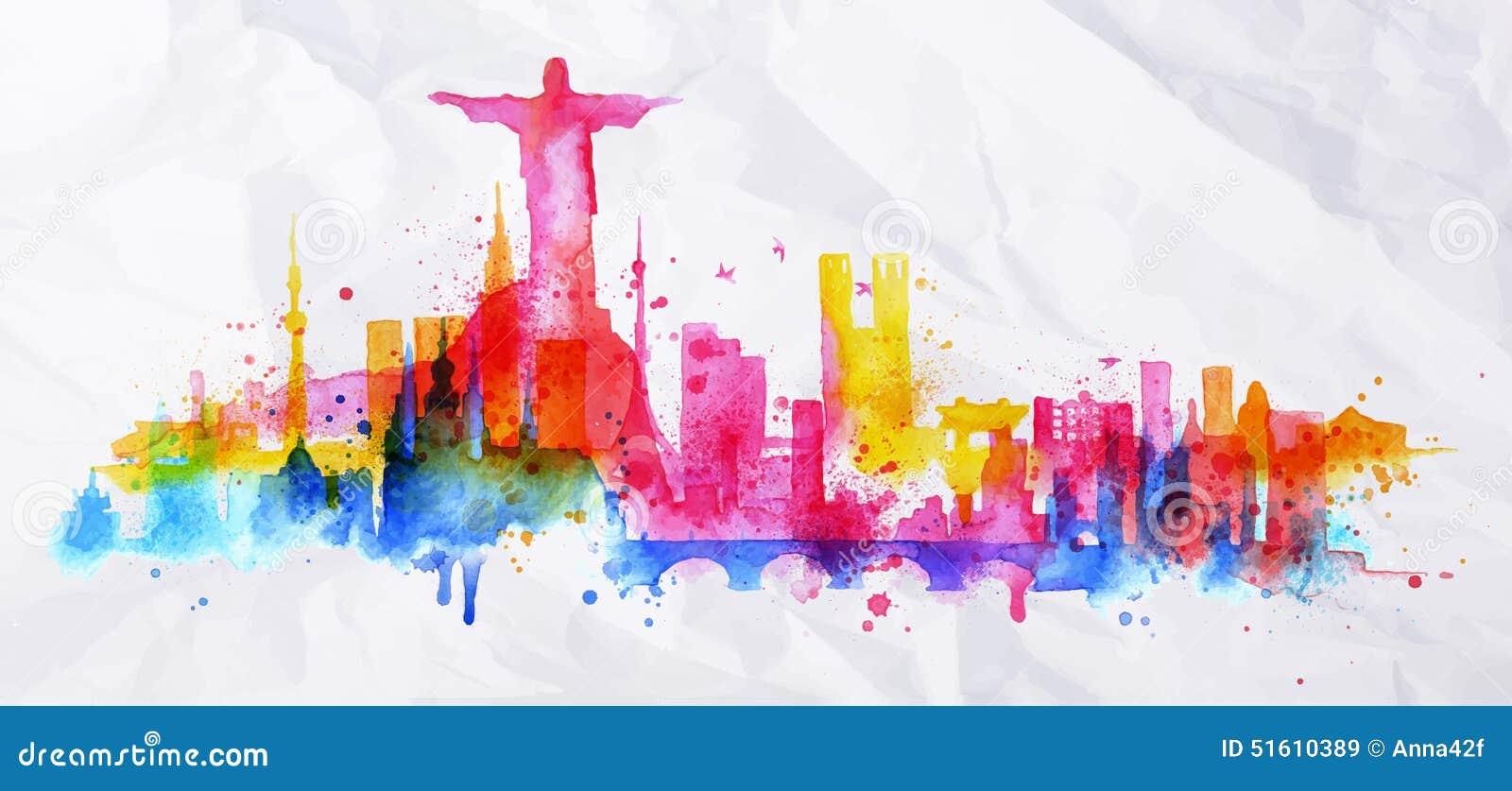 Silhouette Overlay City Rio De Janeiro Royalty Free Stock Images