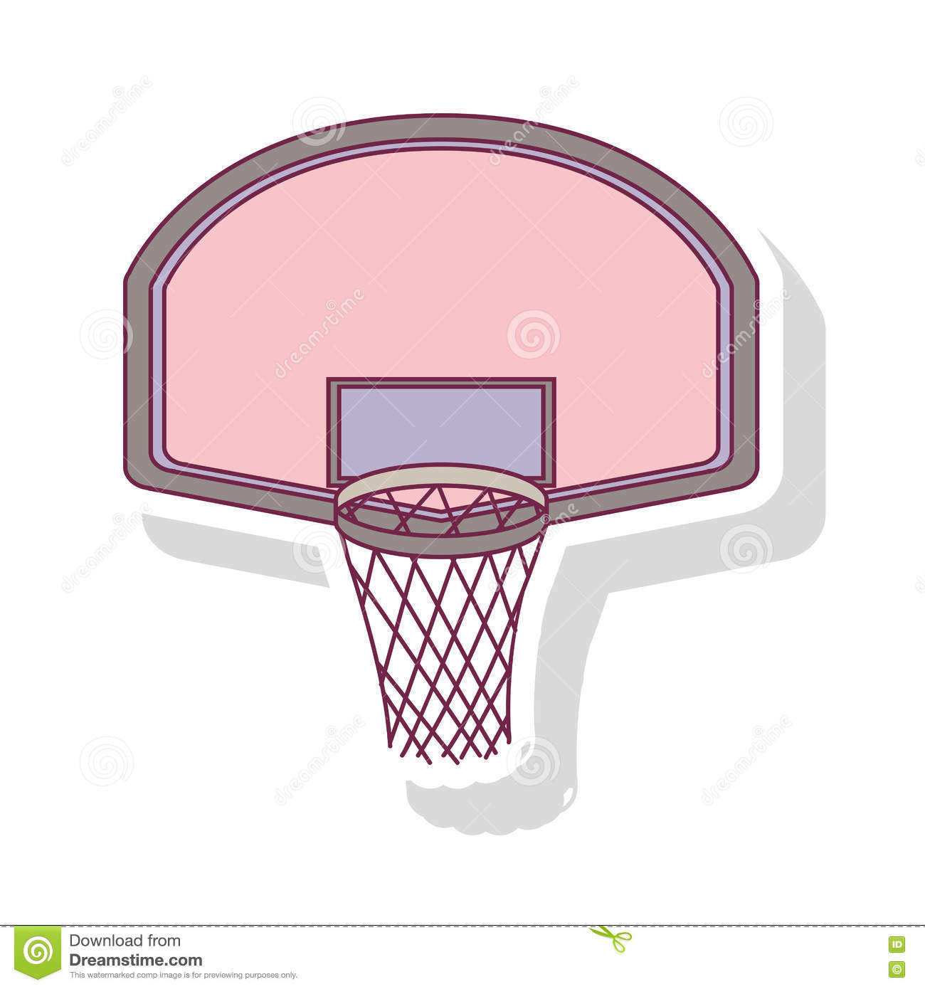 silhouette pastel color of rounded basketball hoop with shadow