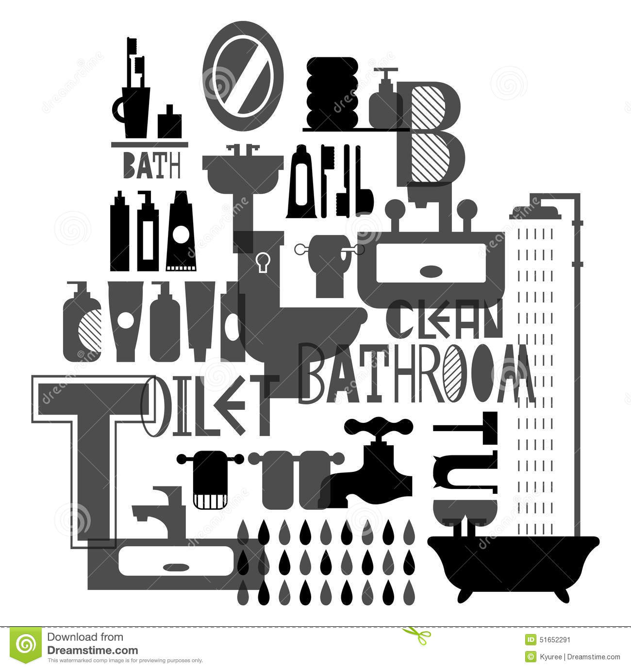 Silhouette pattern of bathroom and toiletries stock for Black and white bathroom paper