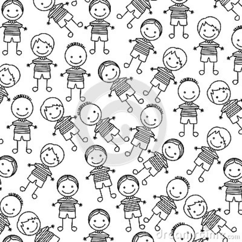 Silhouette Pattern Set Collection Boy Design Stock Illustration