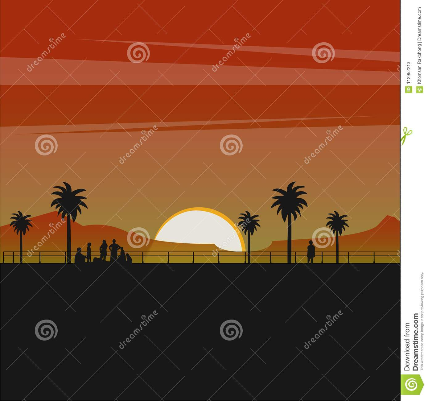 Silhouette of peoele and tree on the beach with a beautiful sunset