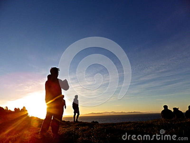 Download Silhouette Of People On Hill Stock Photo - Image of water, free: 83009124
