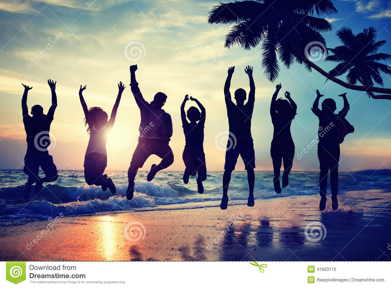silhouette people jumping with excitement on a beach stock Picnic Clip Art Black Family Picnic Clip Art