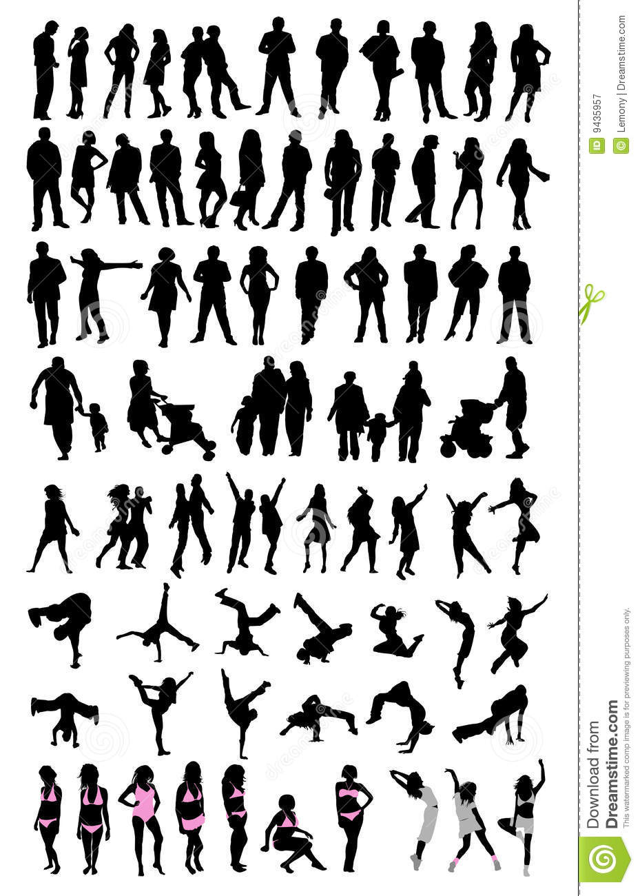 silhouette people set stock image image of outline  clip Landscape Silhouette Vector Football Silhouette Vector