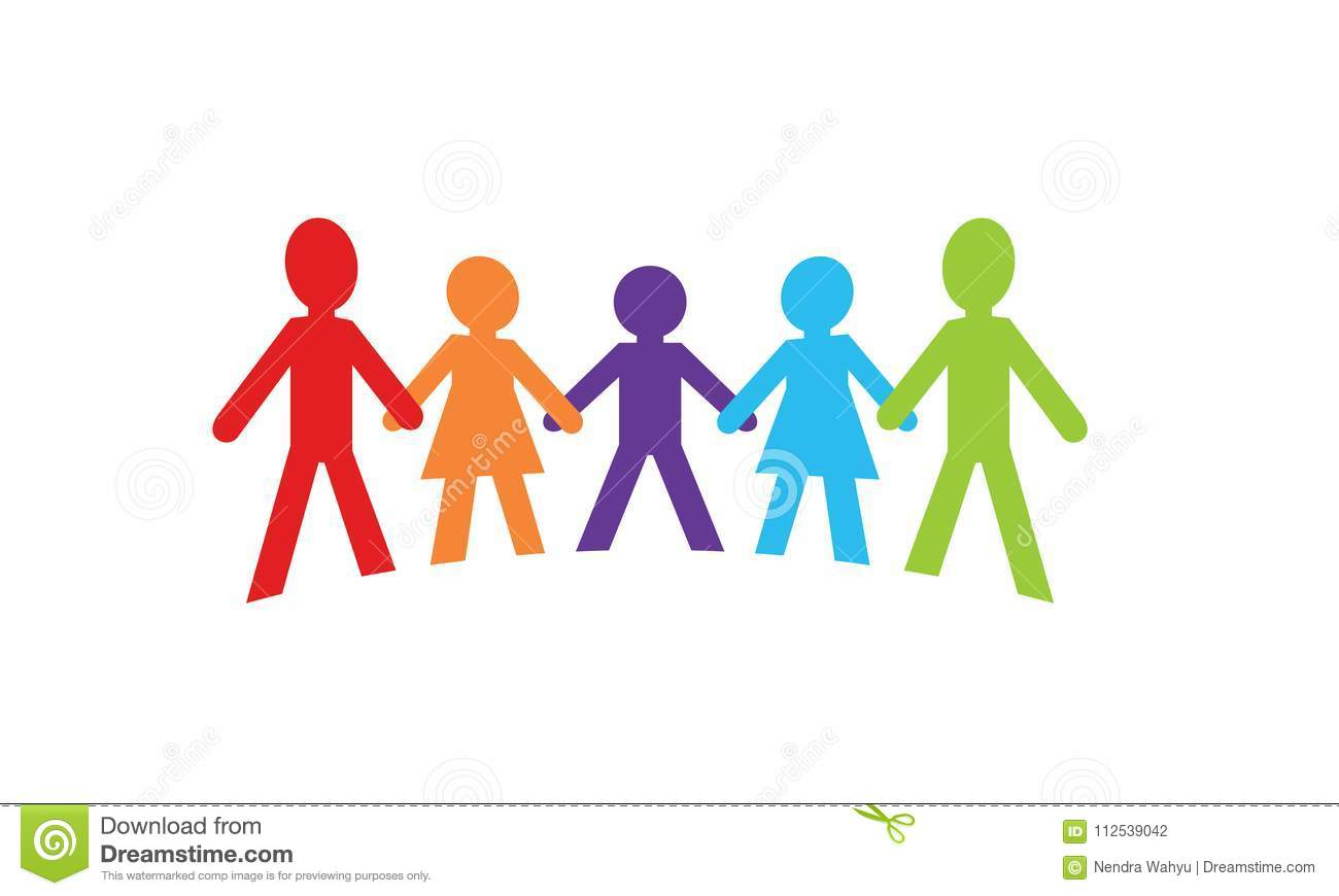 Silhouette Of People Who Hold Hands Stock Vector
