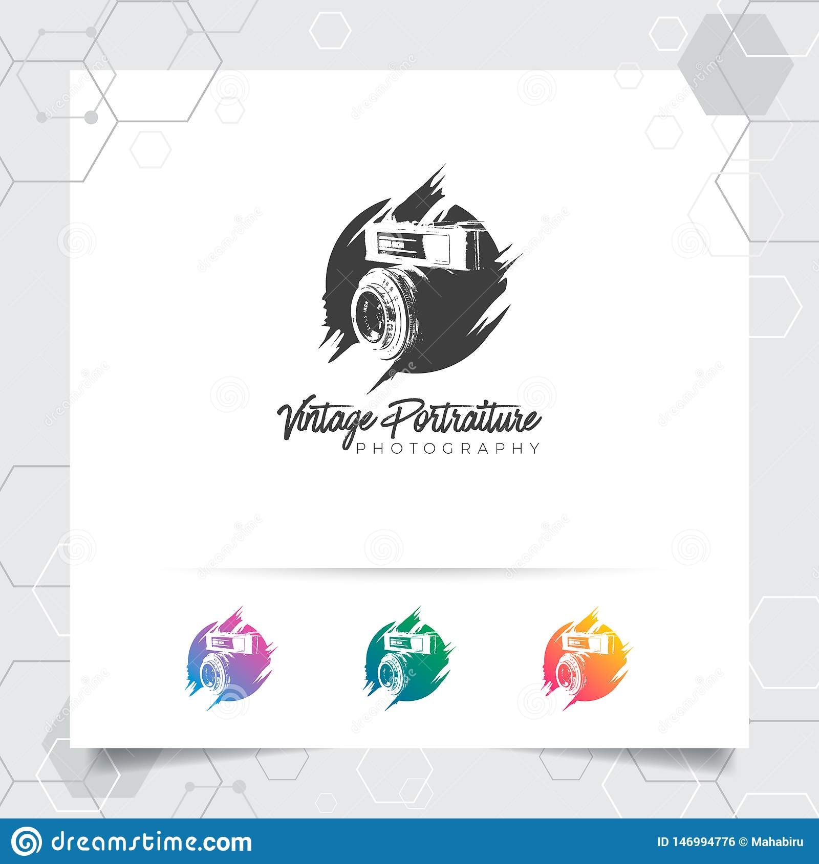 Silhouette Photography Logo Design With Concept Of Vintage Camera Lens Icon And Photo Vector For Photographer Studio Photo And Stock Vector Illustration Of Flash Concept 146994776