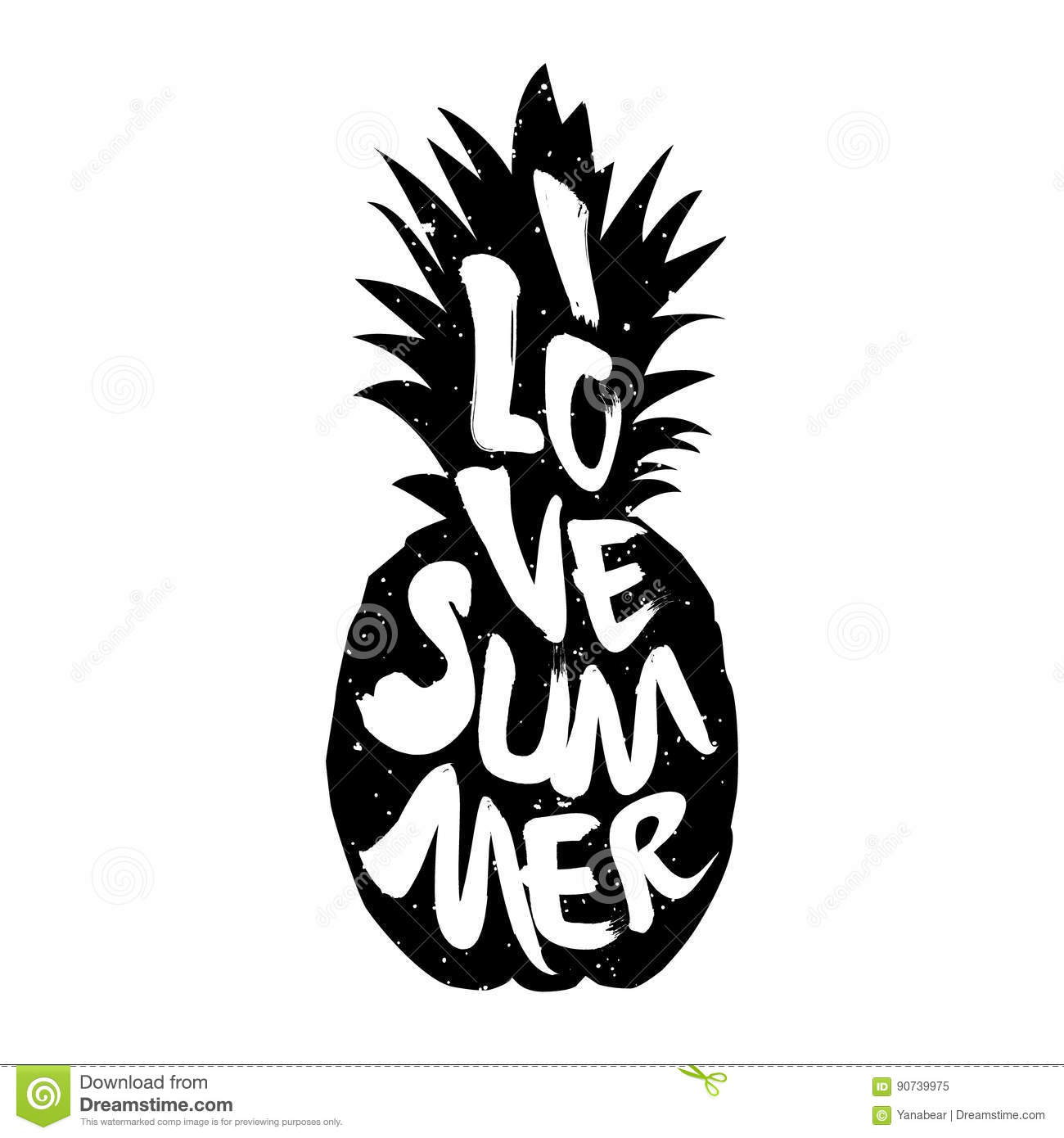 The Silhouette Of Pineapple And Lettering Text I Love Summer ... for Clipart Pineapple Black And White  303mzq