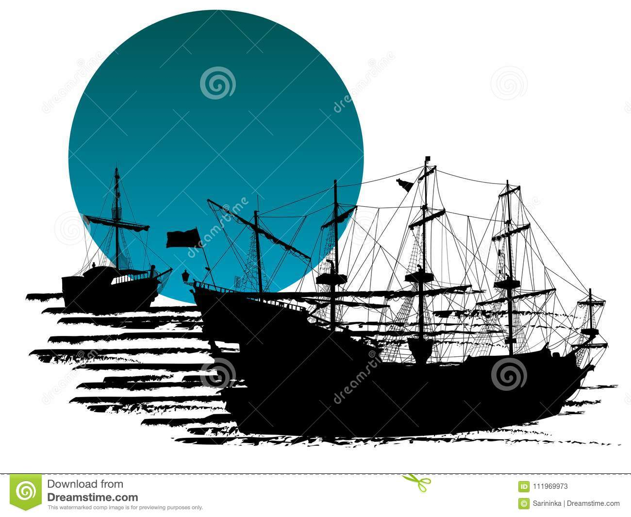 Silhouette of pirate ships stock vector  Illustration of