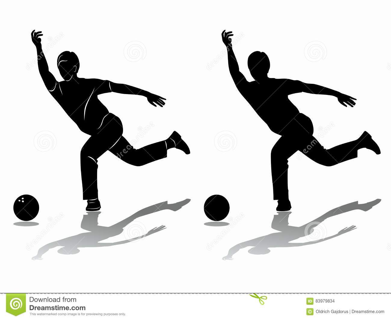 silhouette player bowling vector drawing stock vector
