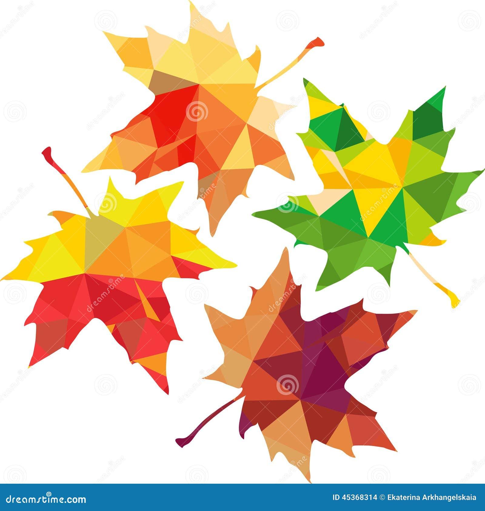 Silhouette polygonale de triangle des feuilles d érable