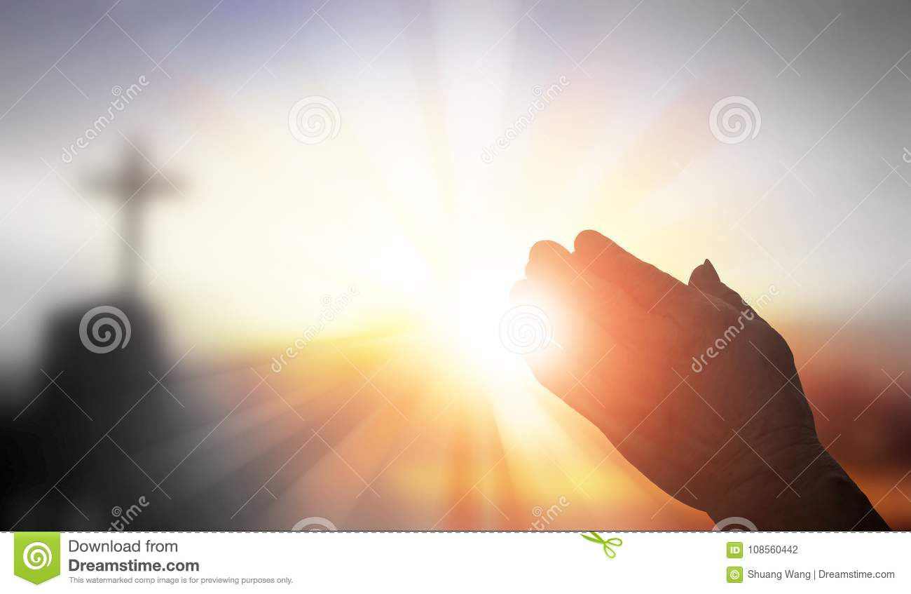 Silhouette prayer hands stock photo. Image of devout ...