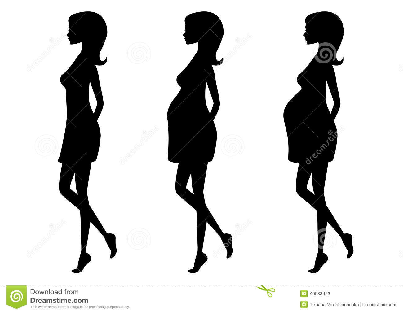 silhouette of pregnant woman in three trimesters stock