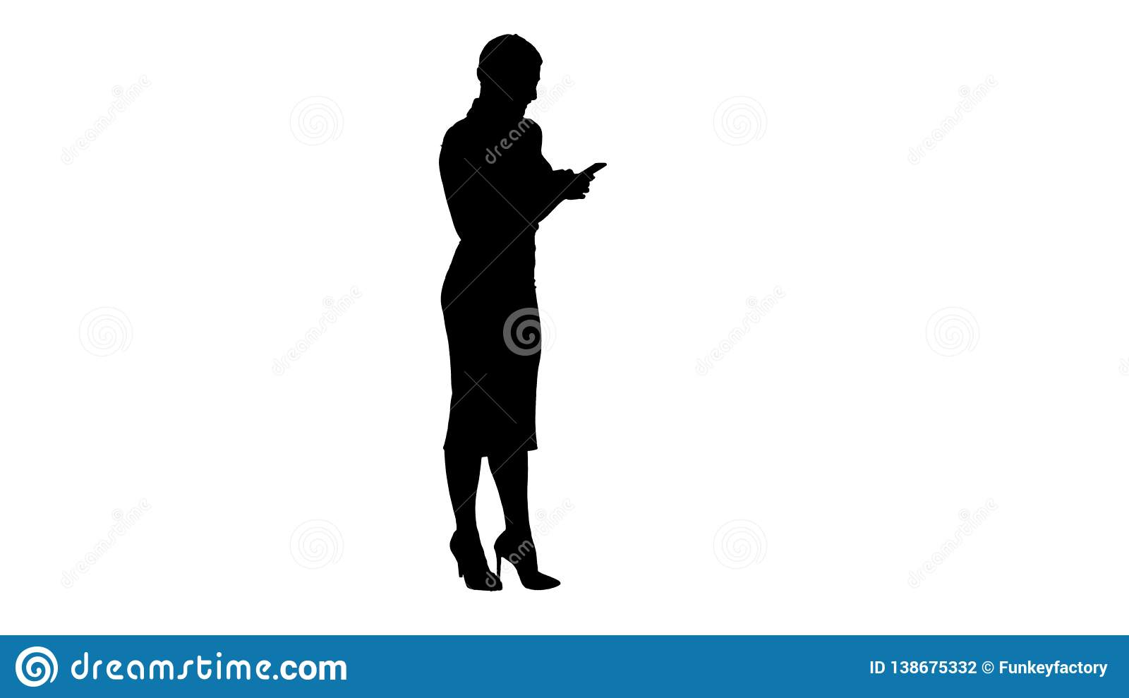 Silhouette Pretty business woman using cell phone texting something.