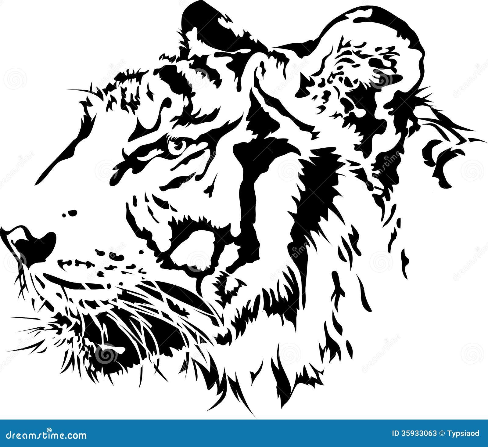 Line Art With Mr E : Silhouette principale de tigre illustration vecteur