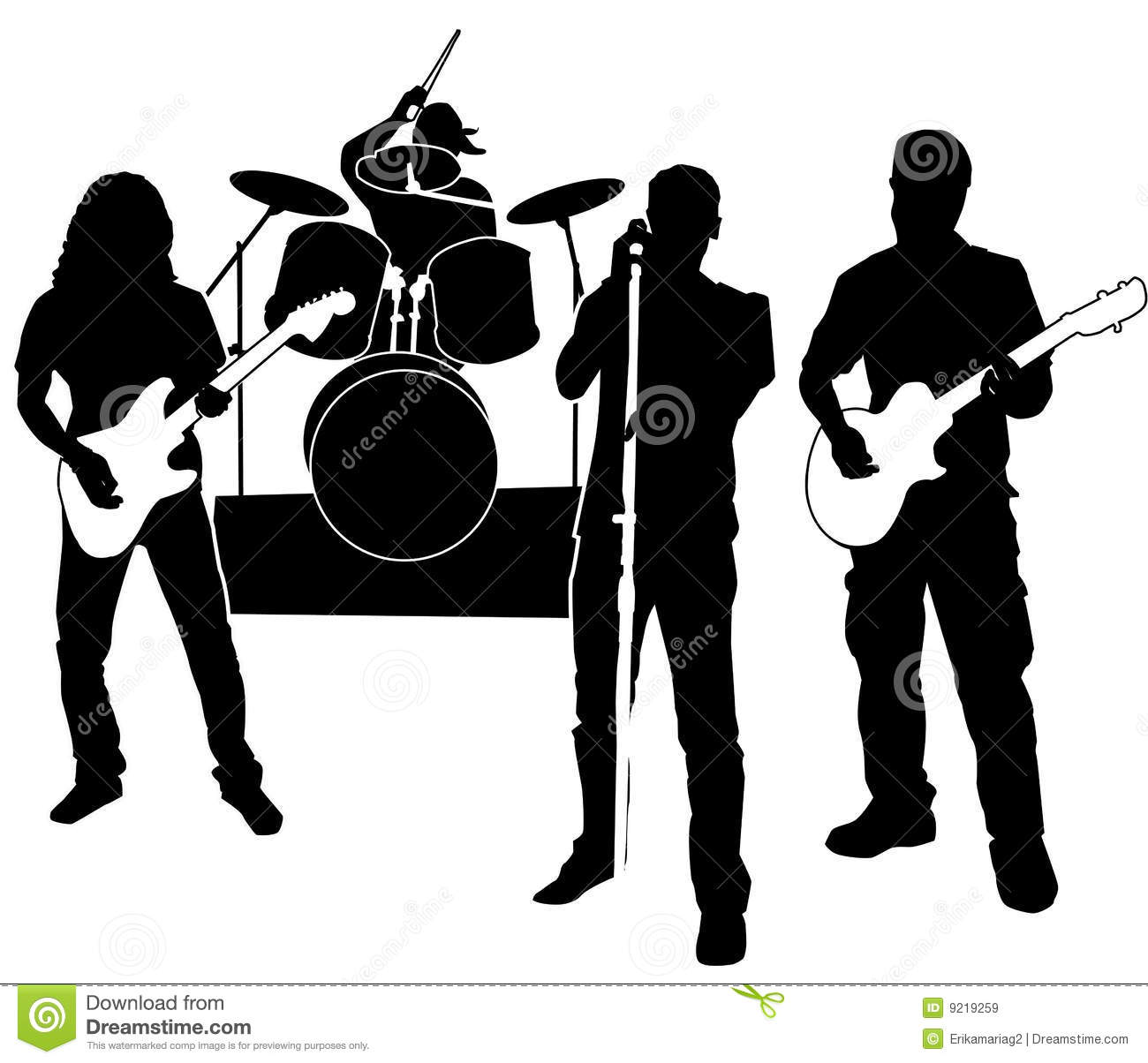 Silhouette - Rock Band Royalty Free Stock Images - Image: 9219259 Rock Band Silhouette