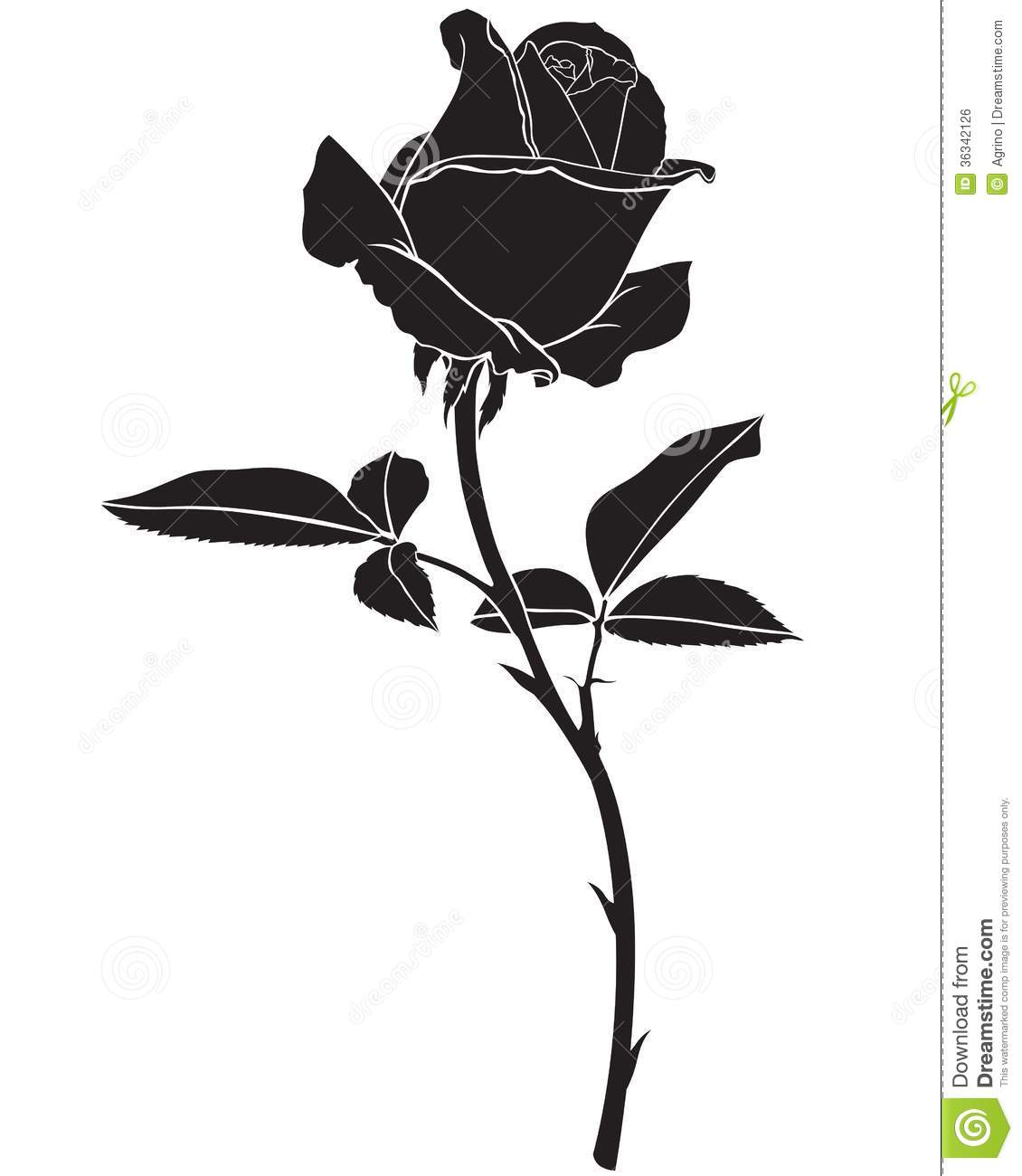 Silhouette Rose Flower Royalty Free Stock Image - Image: 36342126